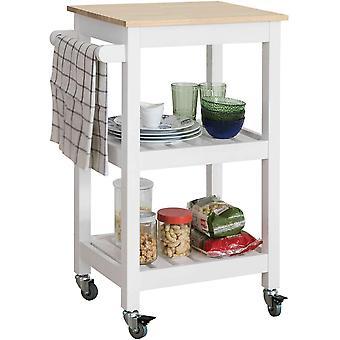 SoBuy Holz Küche Lagerung dienen Trolley Cart Regal mit Rollen FKW67-WN