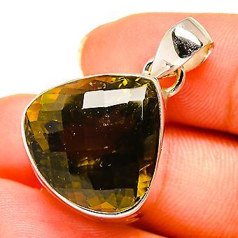 "Olive Quartz Pendant 7/8"" (925 Sterling Silver)  - Handmade Boho Vintage Jewelry PD10713"