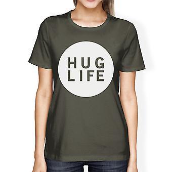 Knuffel leven vrouwen donkere T-shirt van de grijze bemanning hals Graphic Tee voor dames