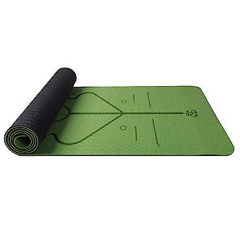 Yoga pilates mats homemiyn double-layer tpe posture line soft thick yoga mat 183*61*0.6Cm green and black