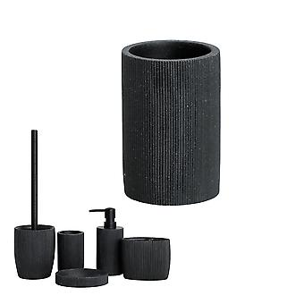 Bathroom Accessory Set (lotion Dispenser, Toothbrush Holder, Soap Dish, Tumbler, Toilet Brush Holder) Made Of Resin With Imitation Black Sandstone Eff
