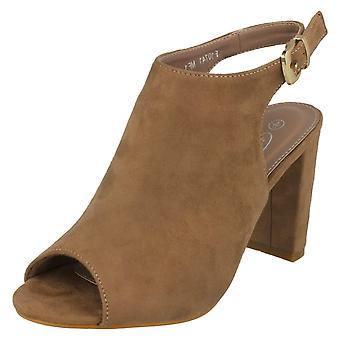 Ladies Spot On High Heel Peep Toe Sandals F10741