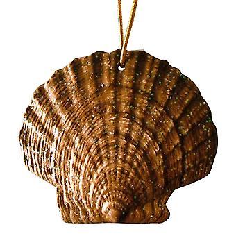 Tropical Beach Seashell Christmas Ornament Dark Brown ORNShell16 Resin