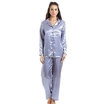 Camille Silver sateng Full lengde Pyjama Set