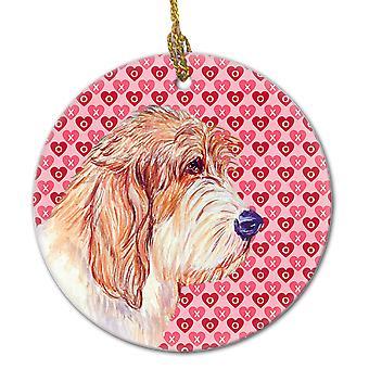 Petit Basset Griffon Vendeen Valentine's Love and Hearts Ceramic Ornament