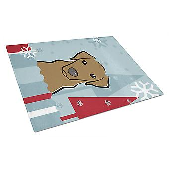 Winter Holiday Chocolate Labrador Glass Cutting Board Large