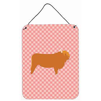 Vache Highland Check rose mur ou porte suspendue imprime