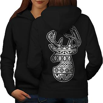 Deer Holiday Christmas Women BlackHoodie Back | Wellcoda