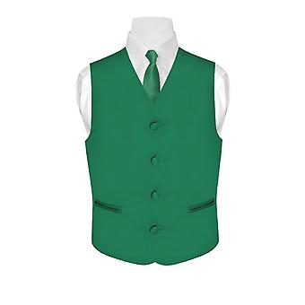 BOY'S Dress Vest & NeckTie Solid Neck Tie Set