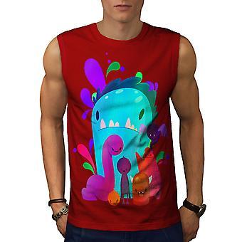 Kleine Monster nette Männer RedSleeveless T-shirt | Wellcoda