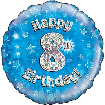 Oaktree 18 Inch Happy 8th Birthday Blue Holographic Balloon