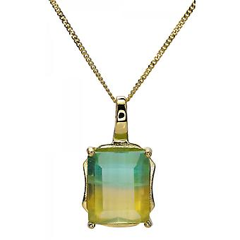 Shipton and Co Ladies Shipton And Co 9ct Yellow Gold And Flourite Pendant Including A 16 9ct Chain PYG084FL