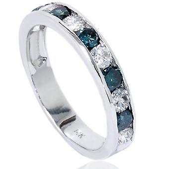 1ct kanaal instellen blauwe & wit Diamond Ring 14 K White Gold