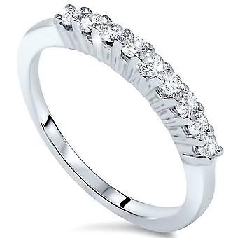 5 / 8ct 9 Stein Diamant Ehering 14K White Gold
