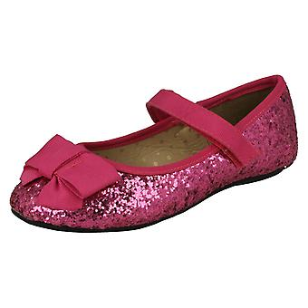 Girls Cutie Flat Glittery Party Shoes H2376