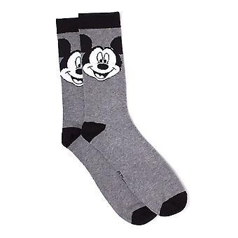 Disney Mickey Mouse großes Gesicht Crew Socken, 43/46, grau/schwarz (FC267641MCK-43/46)