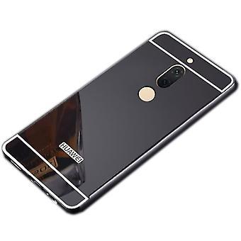 Spiegel / Mirror Alu Bumper 2 teilig mit Abdeckung Schwarz für Huawei Honor View 10 / V10 Tasche Hülle