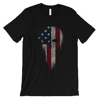 Crânio de American Vintage Mens Black t-shirt para 4 de julho presentes