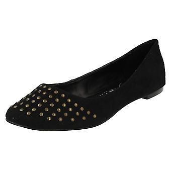 Dames plek op vlakke Slip op schoenen F8605