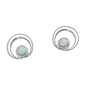 October Sterling Silver Traditional Birthstone Design Pair of Earrings - White Opal Stone - SE372