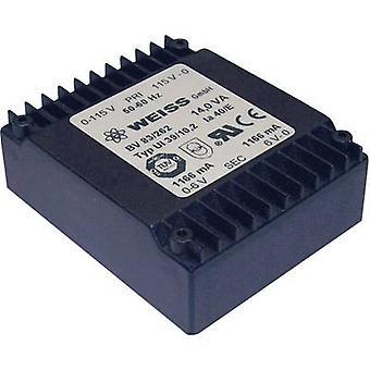 Weiss Elektrotechnik 83/265 PCB mount transformer 1 x 230 V 2 x 12 V AC 14 VA 583 mA