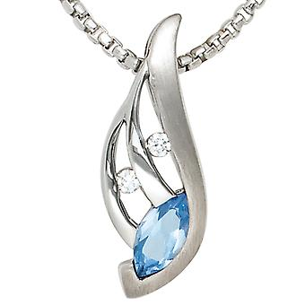 Charm 925 sterling silver rhodium partly Matted with cubic zirconia blue