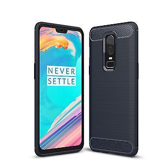 OnePlus 6 Hülle Silikon Blau Carbon Optik Case TPU Handyhülle Bumper 211761