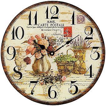 nostalgische Wand Uhr Wanduhr Quarz Mineralglas bedruckt in Holz-Optik