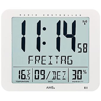 Date wall clock clock radio radio controlled wall clock digital white thermometer alarm clock
