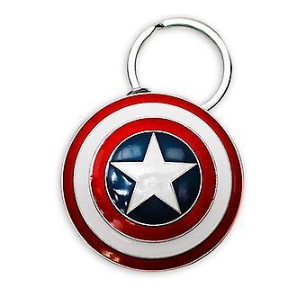 Marvel sleutelhanger Captain America schild, gemaakt van metaal, met mini carabiner.
