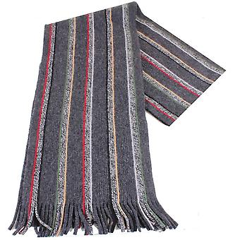Bassin and Brown Seeler Striped Wool Scarf - Grey/Red/Beige