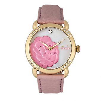 Bertha Daphné MOP-bande de cuir Ladies Watch - Light Pink/White