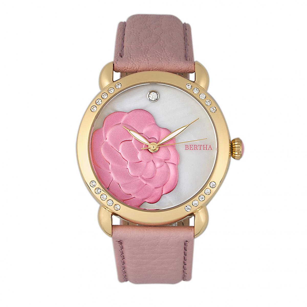 Bertha Daphne MOP Leather-Band Ladies Watch - Light Pink/White