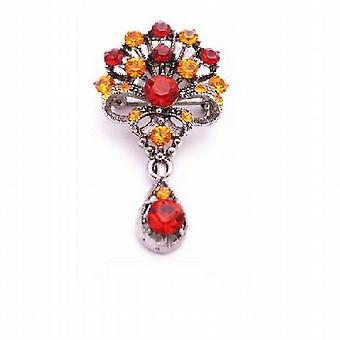 Bouquet Of Flowers With Dangling Teardrop Brooch Orange Siam Red Crystals Oxidized Metal Brooch