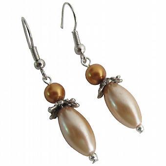 Boucles d'oreilles Bohème Pearl de forme ovale Dangle Peach boucles d'oreilles or