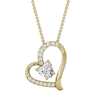 14K Yellow Gold Moissanite by Charles & Colvard 6mm Heart Pendant Necklace, 1.05cttw DEW
