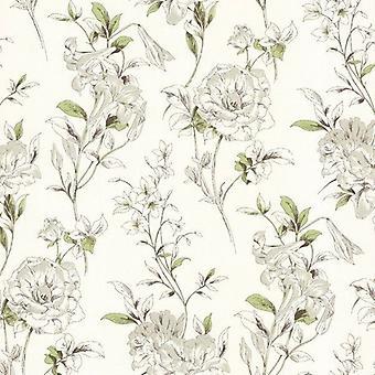 Flor papel de parede Floral creme verde marrom pasta branca o luxo moderno de parede
