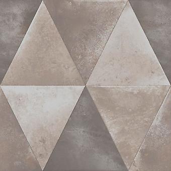 Muriva Caden Taupe geometrische Dreieck Tapete Metallic beunruhigt Schwergewicht