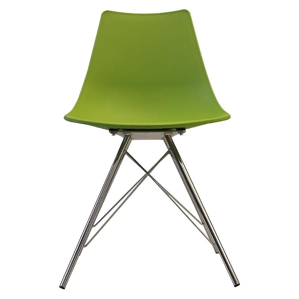 Fusion Living Iconic Green Plastic Dining Chair With Chrome Metal Legs