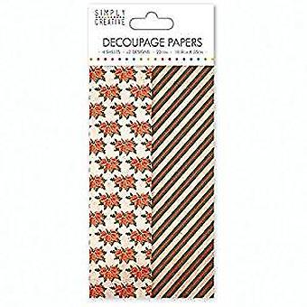 Simply Creative Decoupage Paper 18.8cmX35cm 4/Pkg-Poinsettia