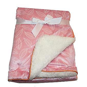 Vaaleanpunainen lehti minkki Sherpa Fleece vuorattu vauva huopa