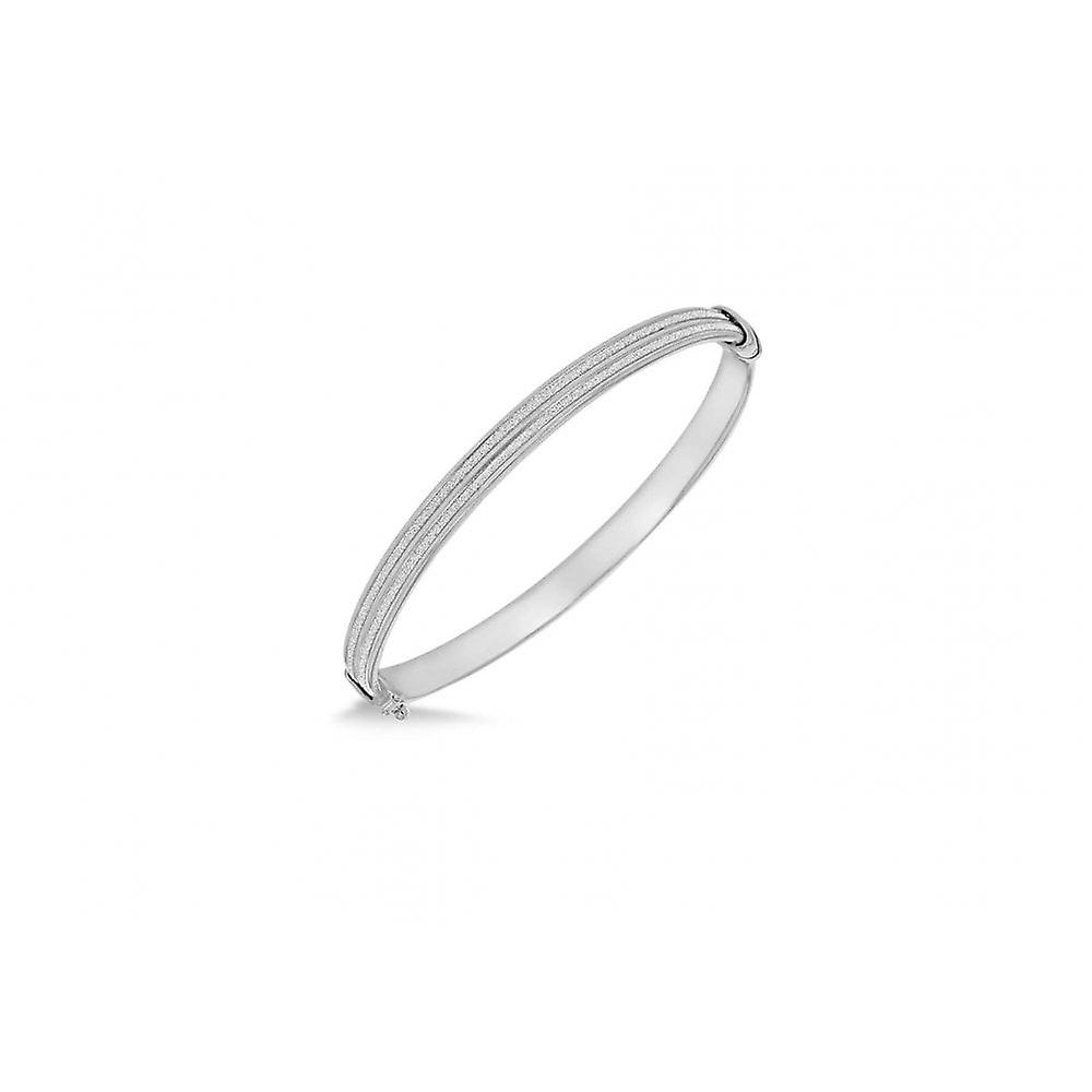 Eternity Sterling Silver Double Row Oval Stardust Glitter Bangle
