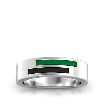 University Of North Texas Sterling Silver Asymmetric Enamel Ring In Green and Black