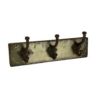 Faux Aged Steel Finish Industrial Style Triple Metal Wall Hook, Gold