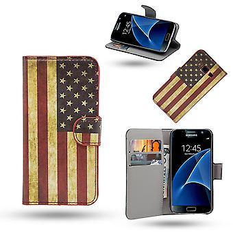 Samsung Galaxy S7 Edge geval/portemonnee in leer-USA