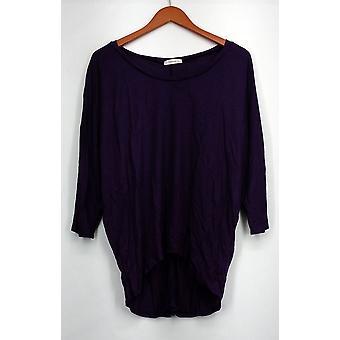 JJ Perfection Top 3/4 Sleeve Boat Neck w/ Hi Low Hem Purple Womens