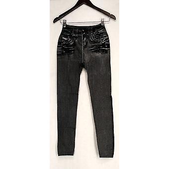 Slim 'N Lift Leggings S/M Caresse Jeggings Knit Ankle Length Gray C415986