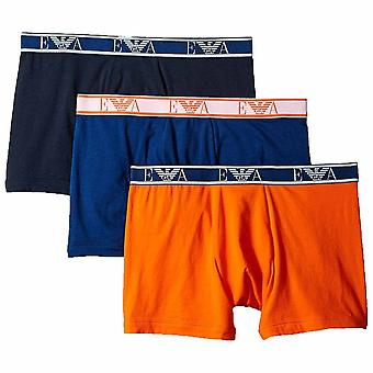 Emporio Armani Logo Stretch Cotton 3-Pack Boxer Brief, Marine / Bluette / Orange, X-Large