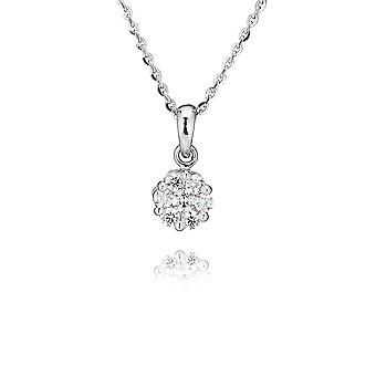 Swarovski Zirconia par Perfection Sterling Silver Swarovski Zirconia Seven Stone Round Cluster Pendant And Chain