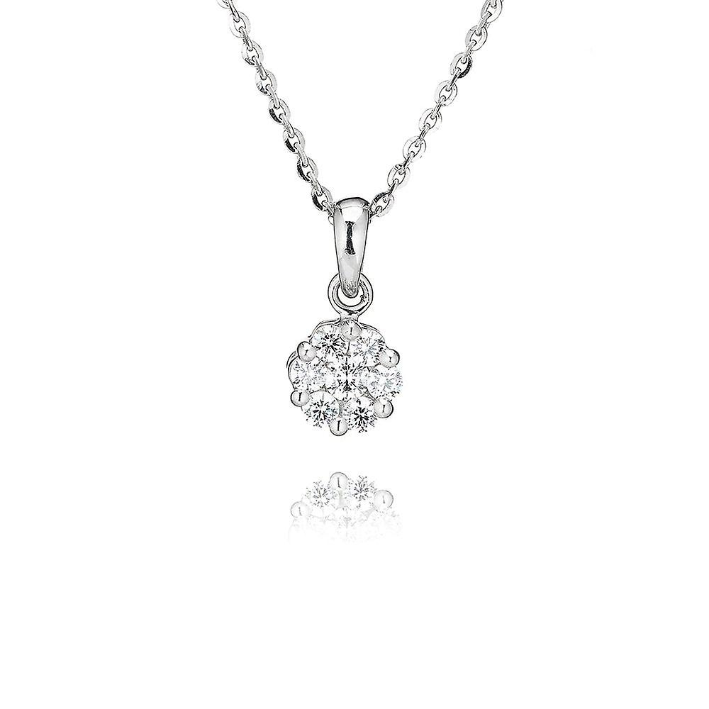 Swarovski  Zirconia by Perfection Sterling Silver Swarovski Zirconia Seven Stone Round Cluster Pendant And Chain